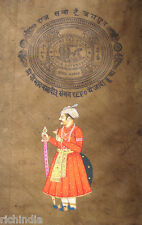 Royal Rajput King Paper Painting antique art stamp Antique ethnic Traditional