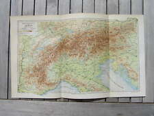 Antique height map karte alps alpen 1902 landkaart