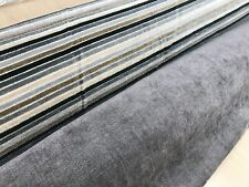 GREY CHENILLE FABRIC UPHOLSTERY MATERIAL PLAIN MULTI STRIPED DESIGN 140 cms