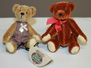 Ganz Miniatures Cottage Collectibles Bear Joey W/ Tags Signed LK Brown Red Bow