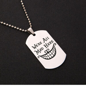 We're All Mad Here Charm pendant necklace Alice In Wonderland Cheshire Cat Grin