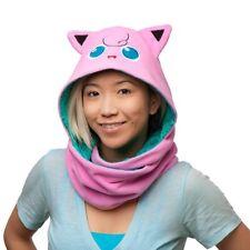 Pokemon Jiggly Puff Jigglypuff Hooded Scarf Reversible Design Pink Teal Fleece