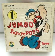 Vintage Jumbo Popeye Pops King Features Syndicate Candy Box Newark, Nj