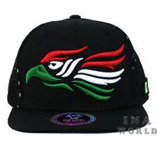Mexican hat Mexico Flag Eagle Snapback Punched Mesh Flat bill Baseball cap-Black