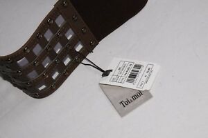 Fashionable Ladies Waist Chrome Brown Elastic Perforated Belt with Studs (S343)