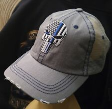 Punisher Blue Line USA Flag Trucker Hat Low Profile Cotton Light Gray Cap SWAT