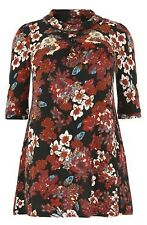 SAMYA PLUS SIZE 26 Floral Tunic Dress 3/4 sleeve Flowers Red Black Cream BNWT AU