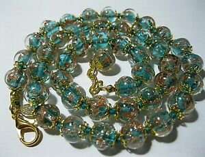 """Teal Green Venetian Murano Glass Gold Foil Bead Vintage Style 18"""" Long NECKLACE"""