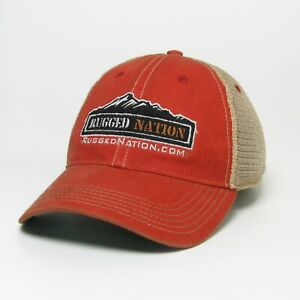 Rugged Nation Old Favorite Trucker Hat by Legacy Resort Wear in Scarlet
