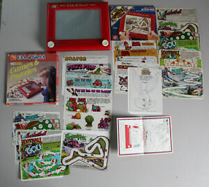 ETCH A SKETCH 1981 + ACTION PACK STENCILS + MORE vintage red original ohio art
