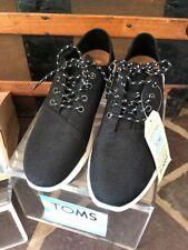 Toms Mens Del Rey Black Poly Canvas Sneaker Casual Shoe Size 9 #10010892 Lace