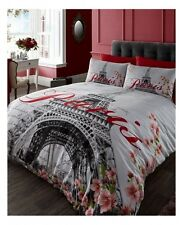 PARIS FLOWERS  EIFFEL TOWER fits QUEEN  bed QUILT DOONA COVER SET NEW