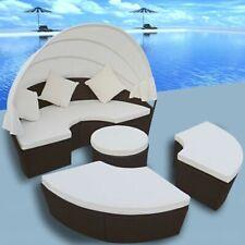 vidaXL Outdoor Lounge Set 2-in-1 Poly Rattan Wicker Sunbeds Daybed Garden