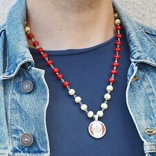 Peru Flag Necklace Pendant Charm Silver chain with Wood Beads Peruvian Pride