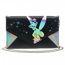 "Disney Tinkerbell Fairy Black Silver Envelope Wallet Clutch Purse 48"" Chain NWT"