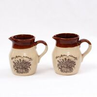 Vintage Pair of 'Live Better Naturally' Stoneware Milk Jugs (Made in Korea)
