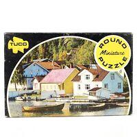 Vintage Tuco Round Miniature Puzzle Scene of Norwegian Harbor 55+ pieces