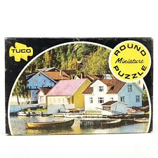 Vintage Tuco Round Miniature Puzzle Scene of Norwegian Harbor 55+ pieces