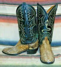 Mens Vintage Acme Natural Cobra Snakeskin Leather Cowboy Boots 7.5 D Good Cond
