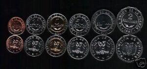 BOLIVIA 10 20 50 CENTS 1 2 5 BOLIVIANO 1997-2004 BI METAL UNC COIN COMPLETE SET