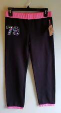 NEW Reebok Girls MEDIUM 10-12 Athletic Jogger Sweatpants BLACK & PINK Gym #85618