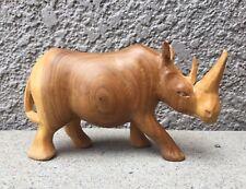 Large Hand Carved Wooden Rhino Safari Art African Rhinoceros Wood Carving