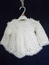 White With Lace Hand Knit Matinee Jacket Cardigan 3 - 6 Months
