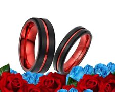 His and Her tungsten Black & Red Matte Finish Bands Engagement wedding Rings Set