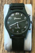 Unique BIG FACE WRIST WATCH!  ATTRACTIVE Military Green Canvas Band! GREAT TIME!