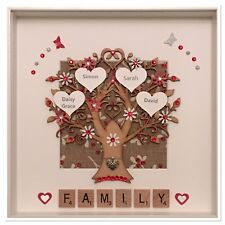 Personalised Scrabble Family Tree 3D Box Frame Wedding Gift Red & Silver Glitter