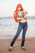 One Piece New World Era Nami Green Bikini Top Bra Striped Costume Halloween