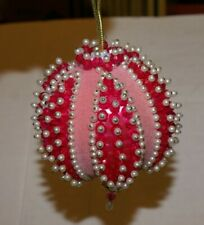 "PINK Christmas Ornament Tree Decoration Ball Beads PEARLS 4""D"