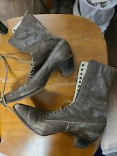 Antique Victorian-Edwardian Brown Leather Lace Up Shoes/Boots Size Unknown
