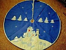 "Snow Buddies The Petting Zoo Snowman Christmas Tree Skirt Blue & White 42""~1994"