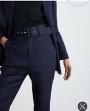 Zara Navy Belted Trousers High Waisted - Size XS Denim Style Material BNWT