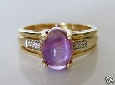 Beautiful 9ct Gold Cabochon Amethyst & Diamond Ring Size N
