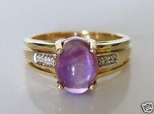 Beautiful 9ct Gold Cabochon Amethyst & Diamond Ring Size N