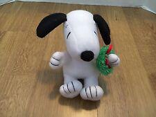 "Hallmark Snoopy Holding Christmas Wreath Stuffed Plush 6 1/2"""