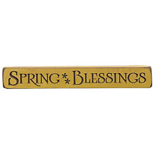 """Spring Blessings Engraved Wood Sign Block Shelf Sitter 12"""" Wide Yellow Rustic"""