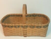 Vintage signed Rebecca Miling woven basket bet oak handle colored trim