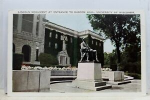 Wisconsin WI University Bascom Hall Lincoln Monument Postcard Old Vintage Card