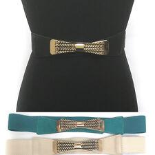 WOMEN Western Fashion ELASTIC Bow Gold Metal Vintage WAIST HIP WIDE BELT Stretch