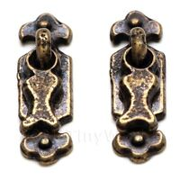 2x Dolls House Miniature 1:12th Scale 1920s Antique Brass Drop Handles