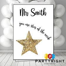 Personalised Thank You Teacher School Leaving Star Of The Week Card