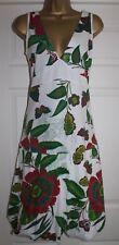 Desigual ladies white green floral butterflies embellished Summer sun dress L