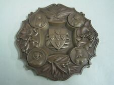 Antique ashtray bronze coat of arms of Portugal and figures of regional costumes