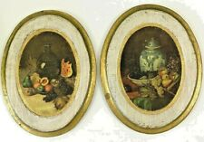 Vintage Pair of Wooden Bountiful Fruit Pictures Made in Italy