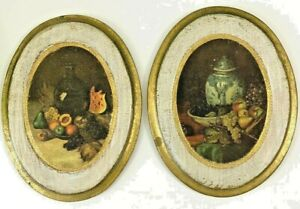 Vintage Gold Gilt Wood Italian Florentine Bountiful Fruit Plaques Set of 2 Italy