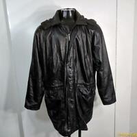 PHASE 2 Soft LEATHER JACKET Coat Mens Size XL black zippered insulated hooded