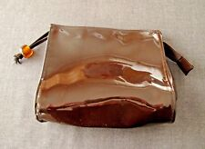 VINTAGE 80'S BROWN VINYL ZIPPERED LARGE BEAD TASSEL CLUTCH BAG PURSE